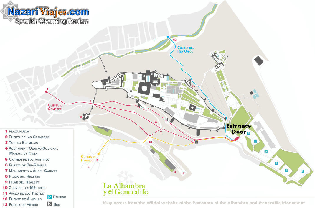 Map and plan of the Alhambra and the Generalife Gardens of Granada