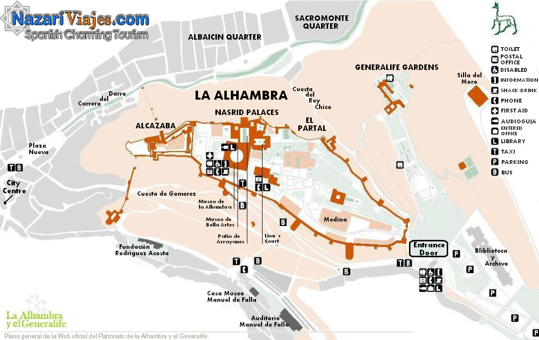 Map Of Spain Granada.Map And Plan Of The Alhambra And The Generalife Gardens Of Granada